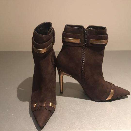 Laundry by Shelli Segal Suede Pointed Toe Stiletto Brown/Gold Metallic Boots Image 10