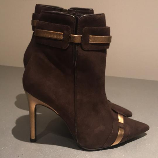 Laundry by Shelli Segal Suede Pointed Toe Stiletto Brown/Gold Metallic Boots Image 3