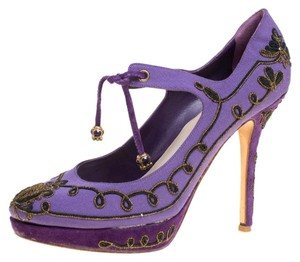Dior Embroidered Canvas Suede Leather Purple Pumps