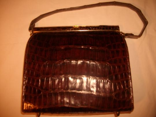 Other Alligator Reptile Crocodile Satchel in Brown Image 1