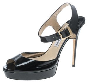 Jimmy Choo Patent Leather Ankle Strap Black Sandals