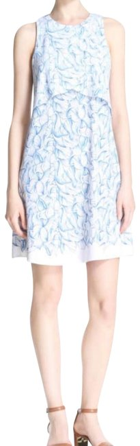 Item - White Blue Kaley Ellora Printed Mid-length Short Casual Dress Size 4 (S)