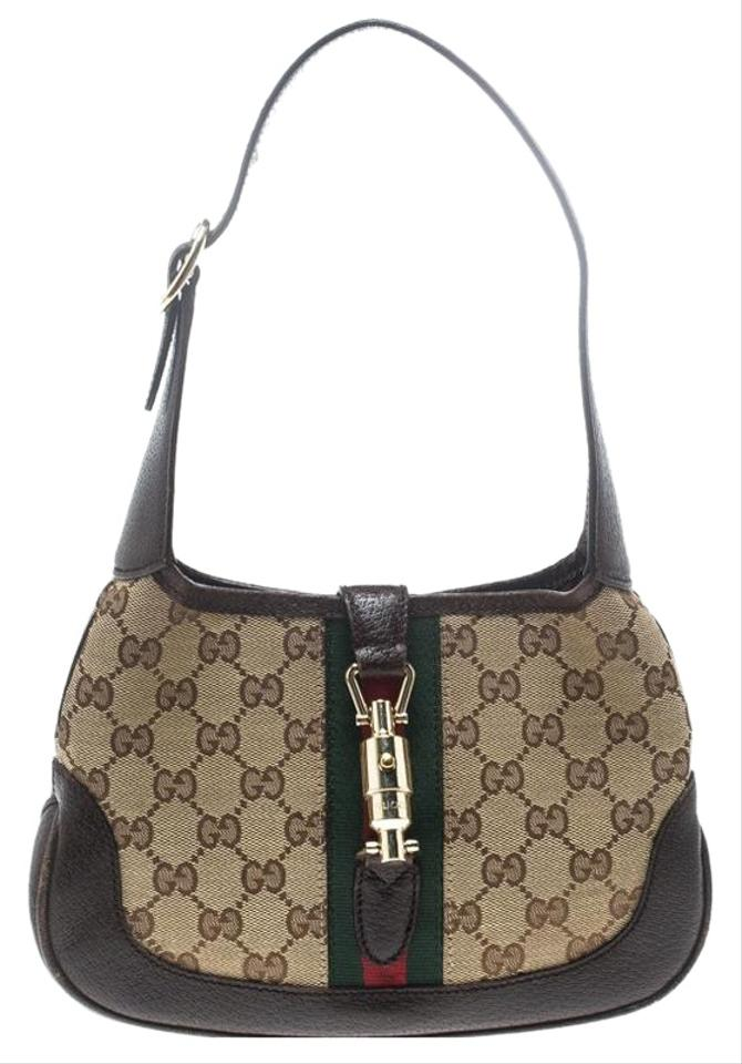 05858b8623a Gucci Jackie Beige Brown Gg Canvas and Mini Beige Leather Hobo Bag ...