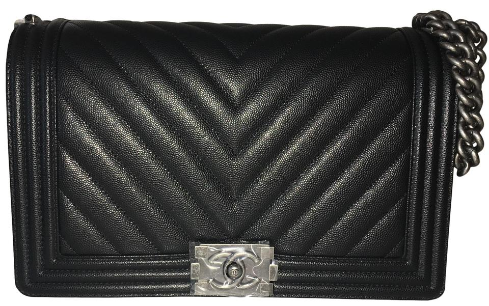 7ffef7615e3a Chanel Boy Chevron Black Caviar Leather Cross Body Bag - Tradesy