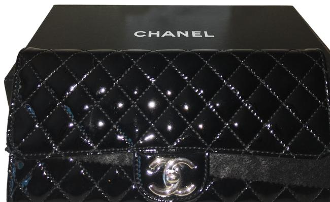Chanel East West With Chain Black Patent Leather Clutch Chanel East West With Chain Black Patent Leather Clutch Image 1
