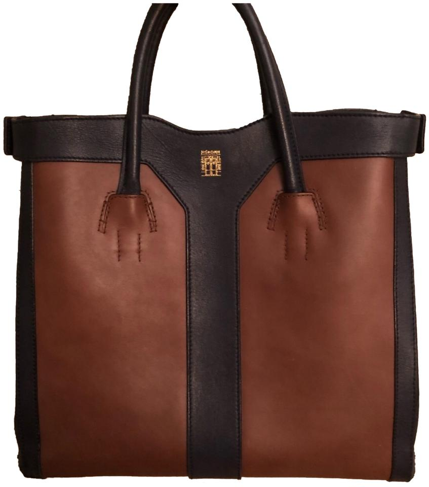 a6e90f24188 Saint Laurent Ysl Double Y Blue and Brown Leather Tote - Tradesy