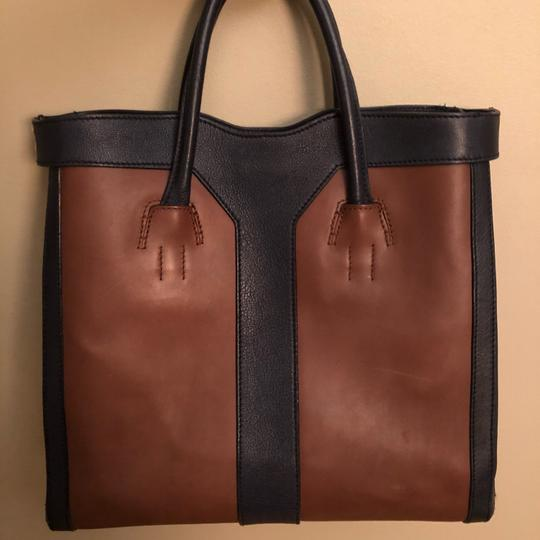 Saint Laurent Tote in Blue and Brown Image 2