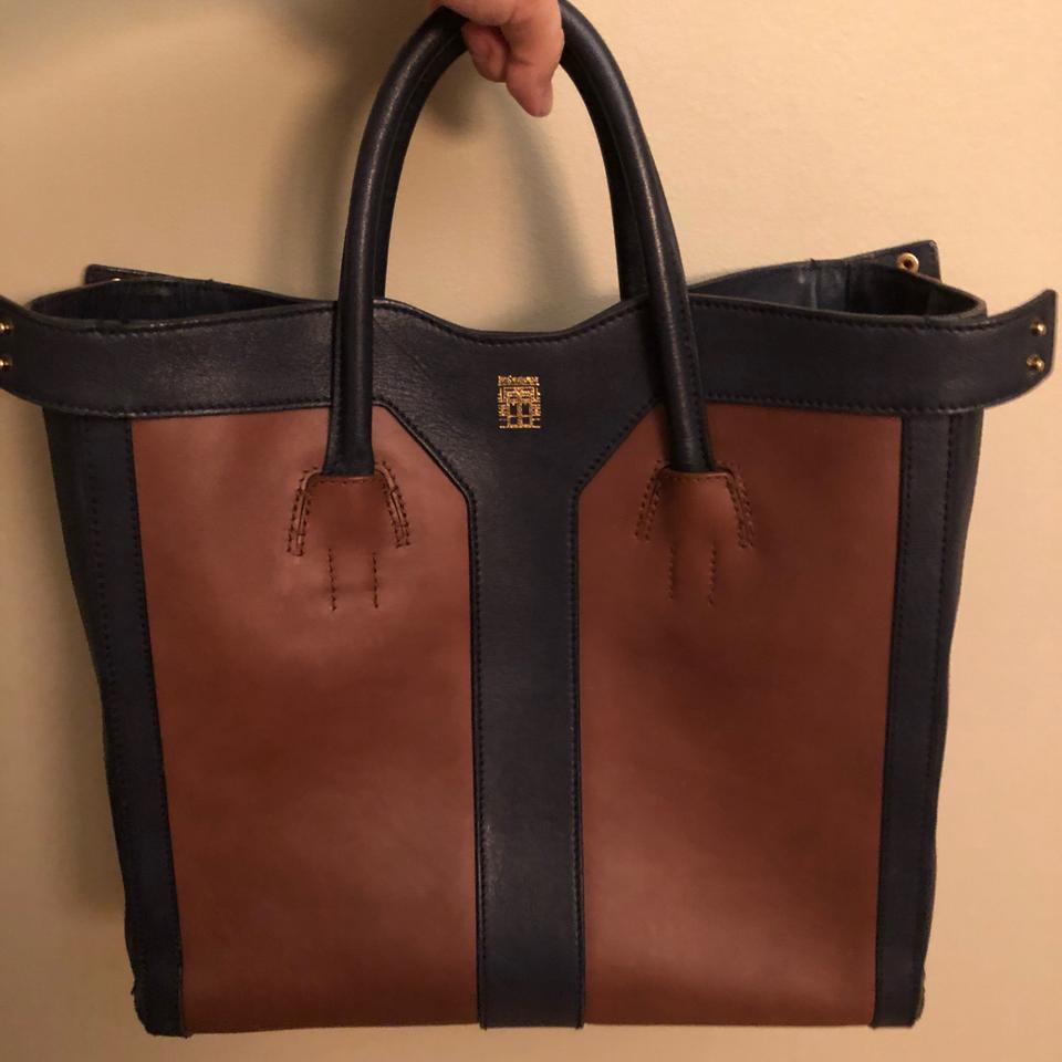 f56f2816c074 Saint Laurent Ysl Double Y Blue and Brown Leather Tote - Tradesy