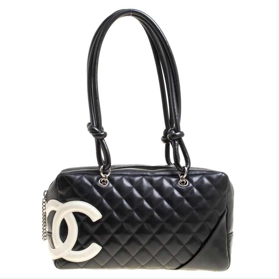 358aa215f6a844 Chanel Cambon Quilted Ligne Bowler Black Leather Tote - Tradesy