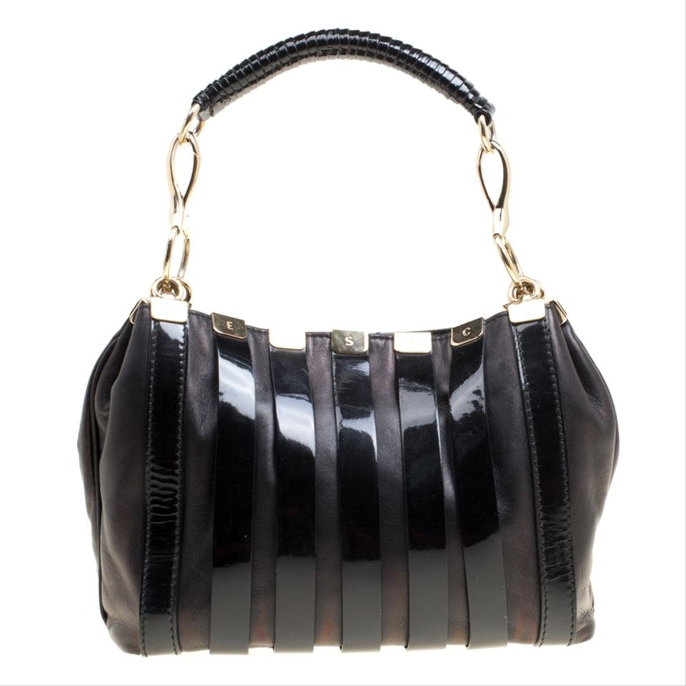 c43e9be43529 Versace And Patent Stripe Black Leather Shoulder Bag - Tradesy