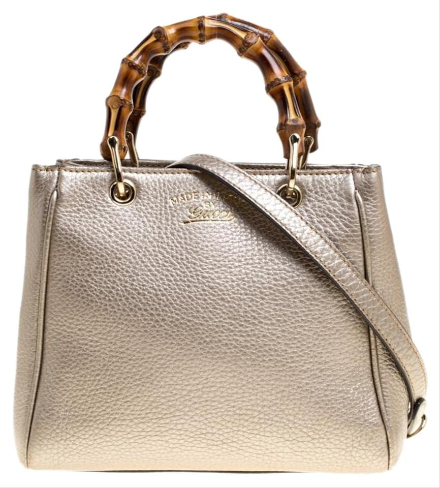 b7e7a5e9a33 Gucci Metallic Beige Leather Bamboo Top Handle Shopper Multicolor Canvas  Tote