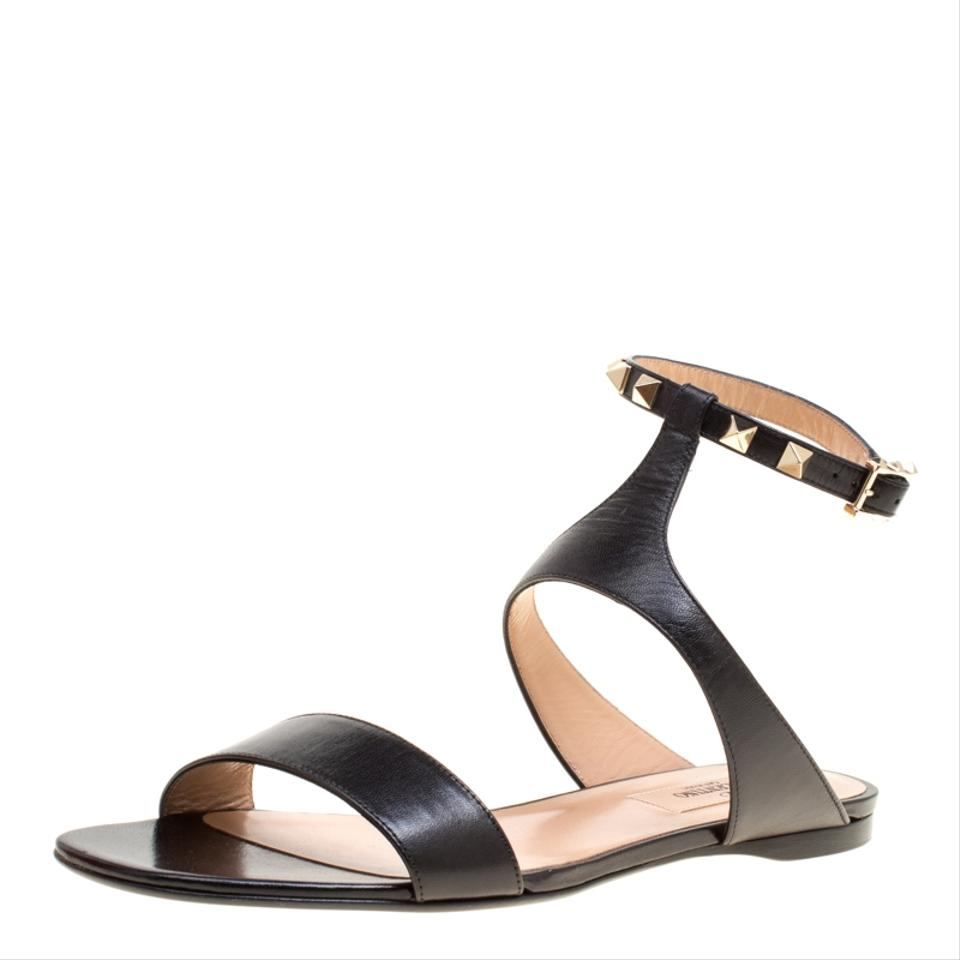 79f85b2f4 Valentino black leather rockstud ankle strap flat sandals size jpg 960x960 Ankle  strap leather flat sandals
