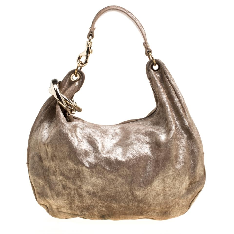 8b18afb7d9b8 Jimmy Choo Shimmering Large Solar Gold Suede Leather Hobo Bag - Tradesy