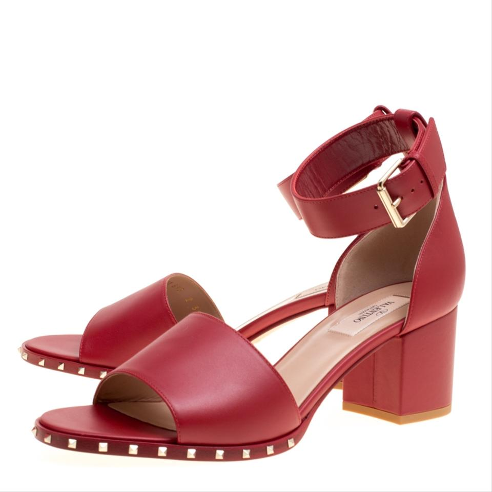 fdceb599a2ef Valentino Red Leather Soul Rockstud Ankle Strap Block Sandals Size ...