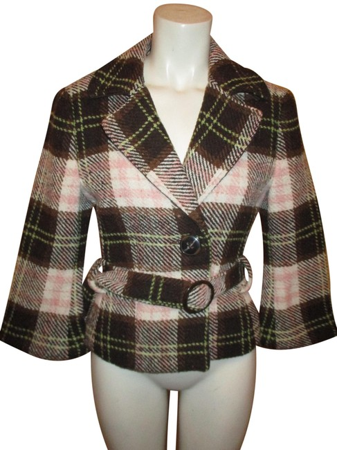 Item - Brown & Pink Multi Plaid 3/4 Sleeve Coat Size 2 (XS)