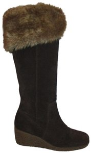 Ann Taylor LOFT Suede Leather Faux Fur Wedge 001 brown & tan Boots
