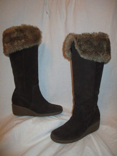Ann Taylor LOFT Suede Leather Faux Fur Wedge 001 brown & tan Boots Image 1