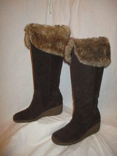 Ann Taylor LOFT Suede Leather Faux Fur Wedge 001 brown & tan Boots Image 2