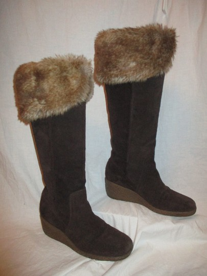 Ann Taylor LOFT Suede Leather Faux Fur Wedge 001 brown & tan Boots Image 3