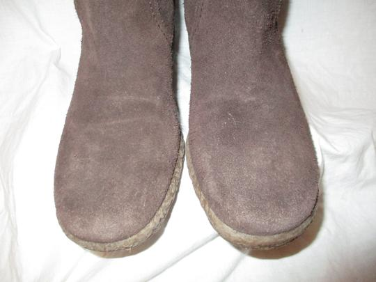 Ann Taylor LOFT Suede Leather Faux Fur Wedge 001 brown & tan Boots Image 5