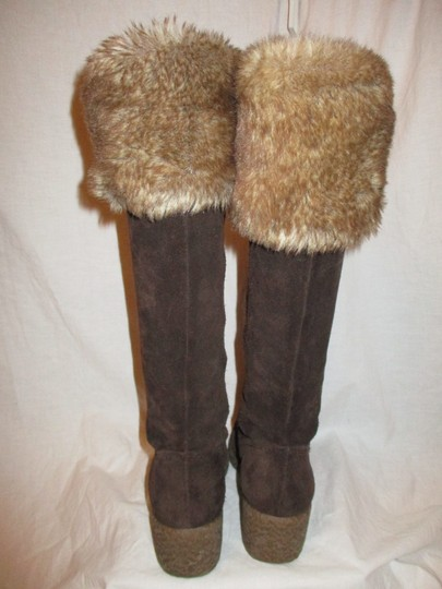 Ann Taylor LOFT Suede Leather Faux Fur Wedge 001 brown & tan Boots Image 6