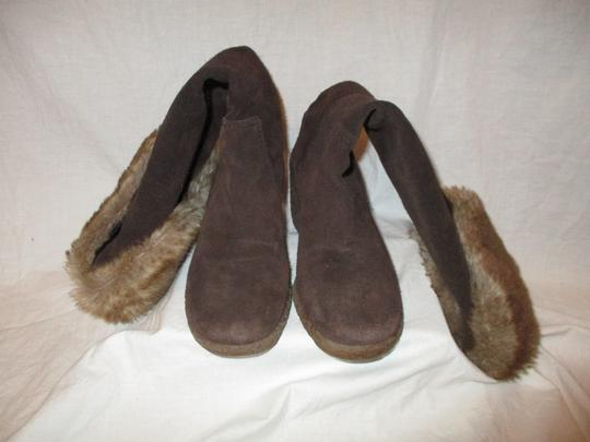 Ann Taylor LOFT Suede Leather Faux Fur Wedge 001 brown & tan Boots Image 7