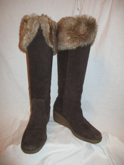 Ann Taylor LOFT Suede Leather Faux Fur Wedge 001 brown & tan Boots Image 8