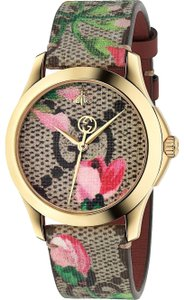 Gucci G-Timeless Blooms Print Leather Strap YA1264038