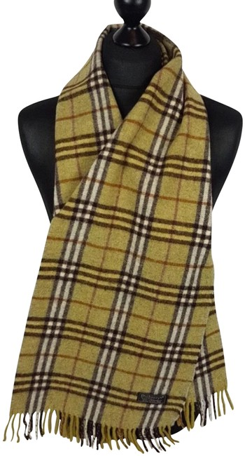 Burberry Yellow and Beige Vintage Check Pattern Wool Scarf/Wrap Burberry Yellow and Beige Vintage Check Pattern Wool Scarf/Wrap Image 1
