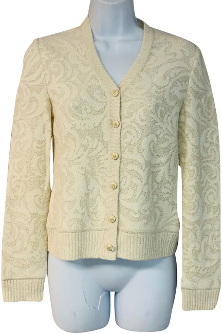 Item - Beige/Gold Collection Threads Knit Cardigan Size 4 (S)