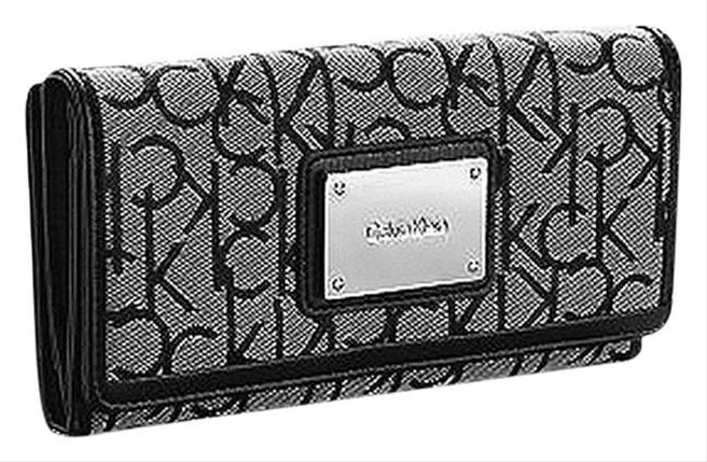 Item - Grey/Black Monogram Jacquard Mega Flap Wallet