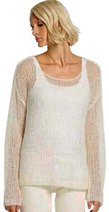 Eileen Fisher Super Soft Open Stitches Mohair Blend Yarn Scoop Neck Drop Shoulders Sweater