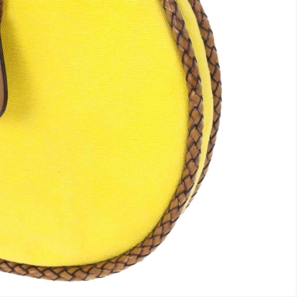 6d6fb1330c6 Gucci Bamboo and Woven Trim Yellow Canvas Hobo Bag - Tradesy