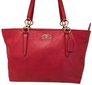 Coach 33961 Chicago Ellis Leather Tote in Red/Light Gold