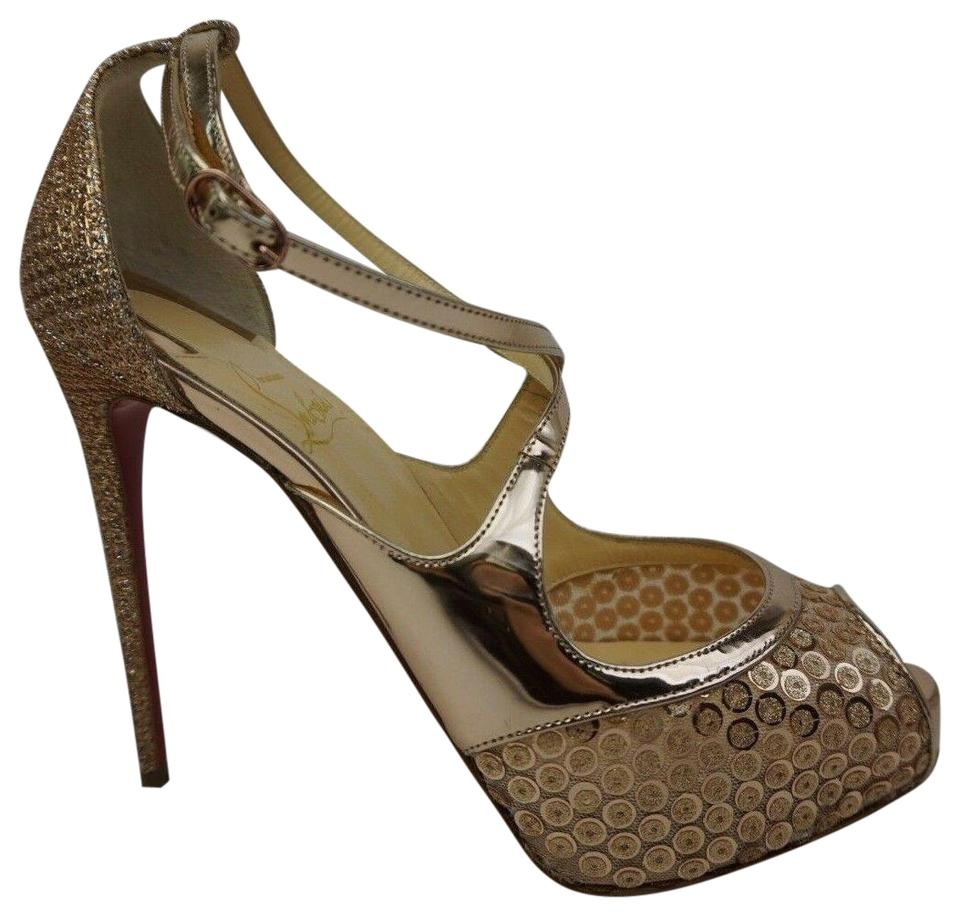 promo code 96c20 89a15 Christian Louboutin Gold Mira Bella 120 Sequin Mirabella Pump Sandals Size  EU 36.5 (Approx. US 6.5) Regular (M, B)
