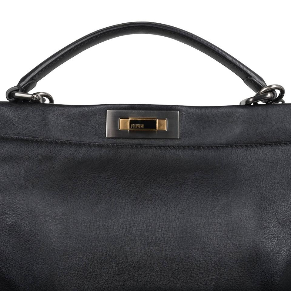 62c408044c1c Fendi Peekaboo Leather Large Tote Satchel in Black Image 11. 123456789101112