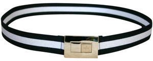 Gucci GUCCI ladies Black/White Web BELT 100/40 w/Gold buckle 253488