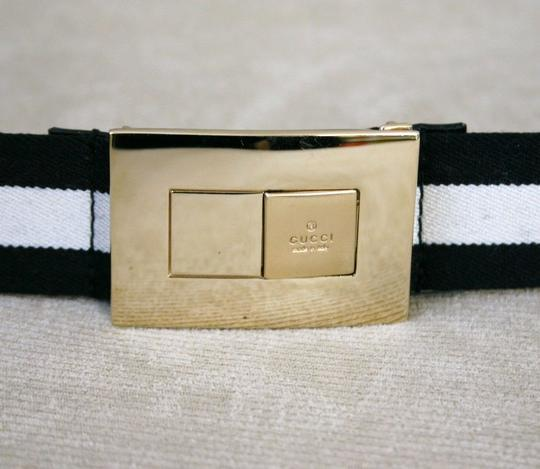 Gucci GUCCI ladies Black/White Web BELT 100/40 w/Gold buckle 253488 Image 1