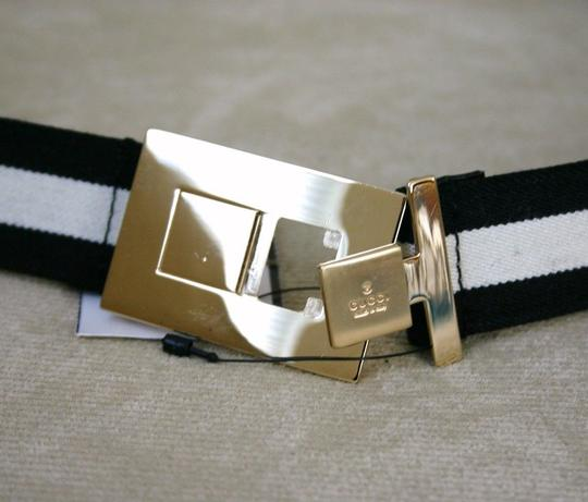 Gucci GUCCI ladies Black/White Web BELT 100/40 w/Gold buckle 253488 Image 2