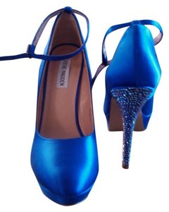 Steve Madden Royal Blue Satin With Crystal heel Formal