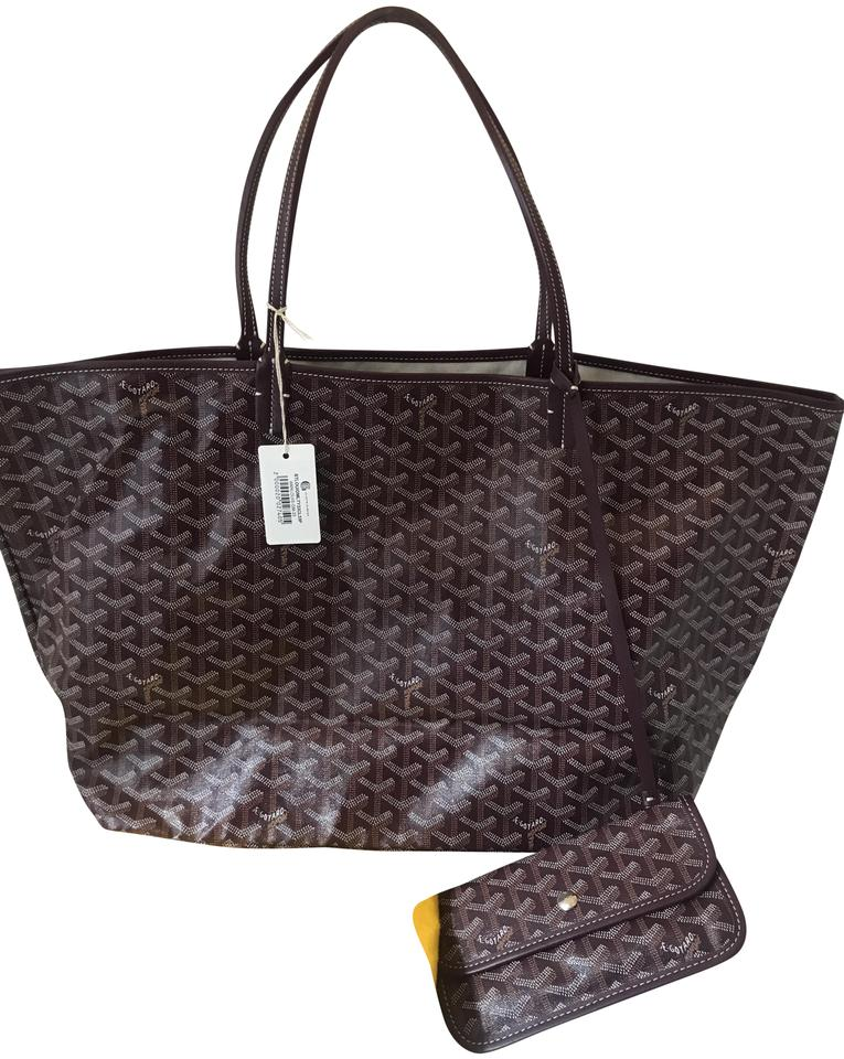 97e3b92eb08e5 Goyard 1119 Louis Coated Gm Burgundy Canvas Tote - Tradesy