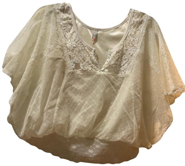 Item - Lace and Embroidered Cream Top