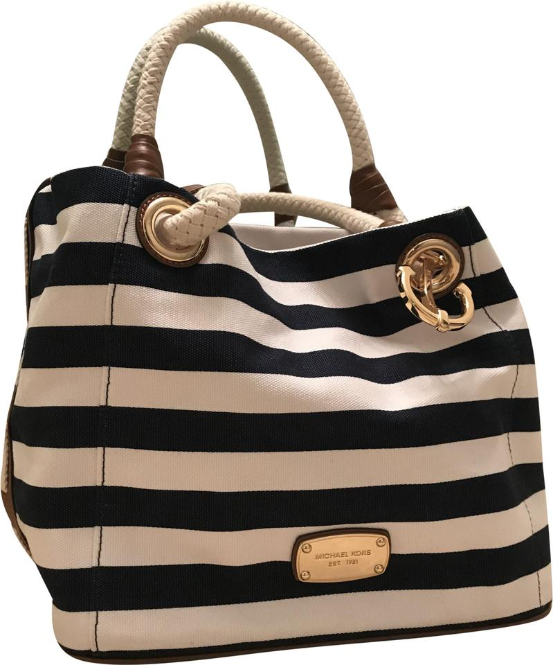 5fcec9121c9b Michael Kors Marina Striped Anchor Sailor Grab Shoulder Navy Blue and White  Canvas Tote