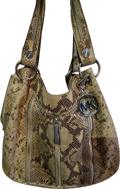 Item - Snake Skin Purse Special Edition Tan and Brown Leather Shoulder Bag