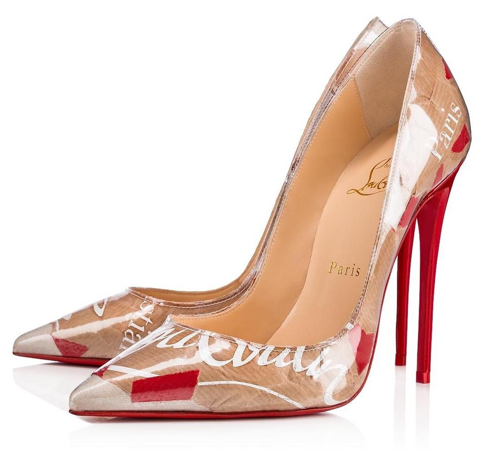 c7f4144c57a7 Christian Louboutin Multicolor So Kate Pvc Loubi Kraft Paper Logo Brown Red  White Heels B417 Pumps