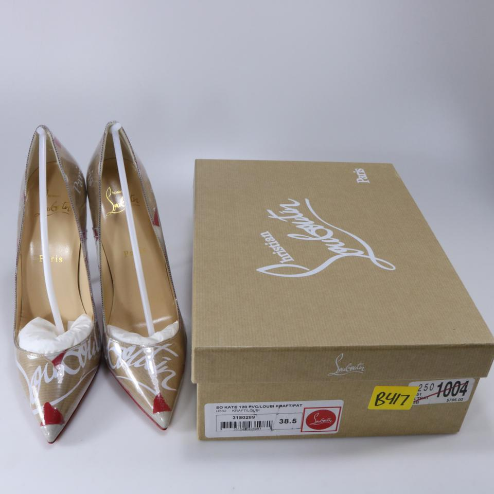 43784f2d5fdb Christian Louboutin Multicolor So Kate Pvc Loubi Kraft Paper Logo Brown Red  White Heels B417 Pumps Size EU 38.5 (Approx. US 8.5) Regular (M