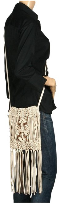 Lucky Brand Macrame Fringe Buff Suede Leather Cross Body Bag Lucky Brand Macrame Fringe Buff Suede Leather Cross Body Bag Image 1