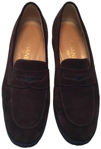 Chanel Suede Loafers Vintage Brown Flats