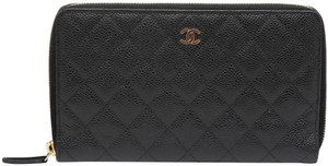 f9fc6d5d95aa Chanel CHANEL Wallet Black Caviar Leather L-LARGE Organizer Gold Zip-Around