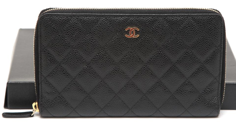 79903a3b73f523 Chanel Black L Caviar Leather L-large Organizer Gold Zip-around Wallet